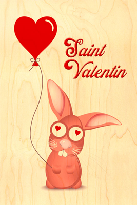 Carte lapin rose valentin